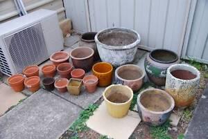 Mixed lot of terracotta, concrete glazed garden planter pots Panania Bankstown Area Preview