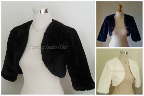Faux Fur Bolero Jacket/Shrug/Stole/Shawl/Wrap Satin Lining 3/4 Sleeves Wedding