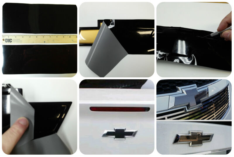 Chevy Bowtie Emblem Decals- Grill/Rear Black Wrap Vinyl -U-custom cut yours