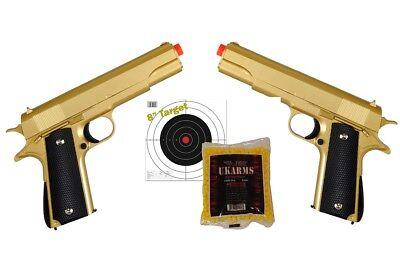 Dual Gold Pistols 007 - COLT 1911 METAL Airsoft Spring Action Pistol w/ .12g (Colt 1911 Spring Pistol)