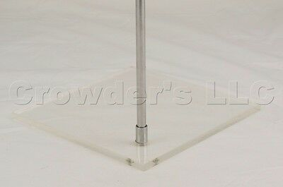 8 X 8 Inch Square Acrylic Shelf Stand Plate W Metal Rod Attached