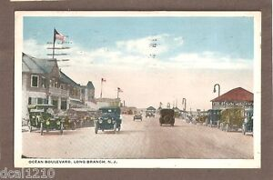VINTAGE POSTCARD 1920 OCEAN BOULEVARD LONG BRANCH NJ NEW JERSEY