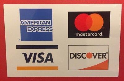 5 Pack Credit Card Logo Decal Stickers - Visa Mastercarddiscoveramex