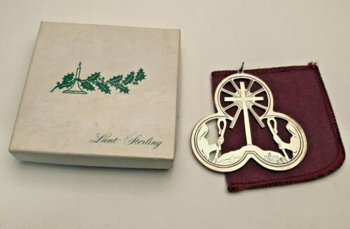 "Lunt 1972 Sterling Silver Trefoil Ornament ""Shepherds Village"", gently used"
