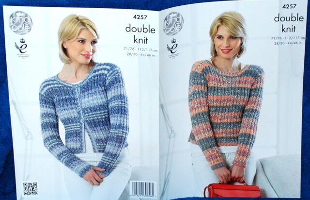 Ladies Double Knit Aran Style Cardigan & Sweater Knitting Pattern 28 - 46 Inch