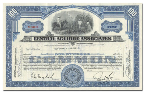 PUERTO RICO-CENTRAL AGUIRRE ASSOCIATES 100 Shares Blue Stock Certificate