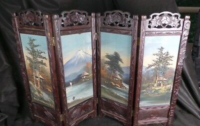 Japanese Oriental 4 Panel Painted Table  Screen