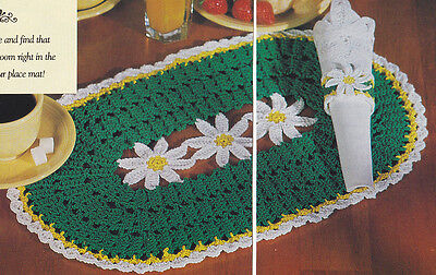 Crochet Pattern ~ DAISY PLACEMAT & NAPKIN RING ~ Instructions ()