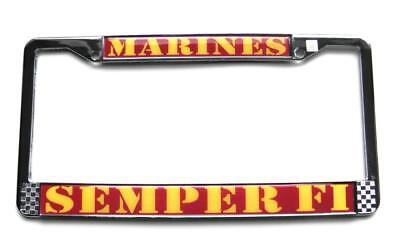 MARINES SEMPER FI Chrome Auto License Plate Metal Tag Frame