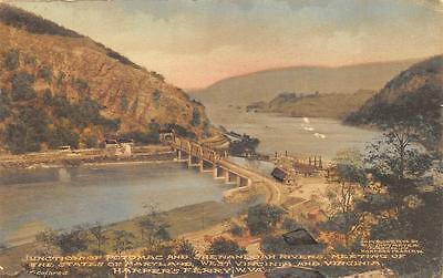 Maryland West Virginia Potomac   Shenandoah River Hand Colored Postcard 1916