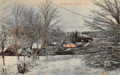 Liberty  Ny  New York   Snowy Residential Scene  Sullivan County  1931 Postcard