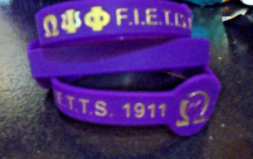 """10 Pack Omega Psi Phi Wristband: 8.5"""": Color Filled: For the Bigger Wrist!"""