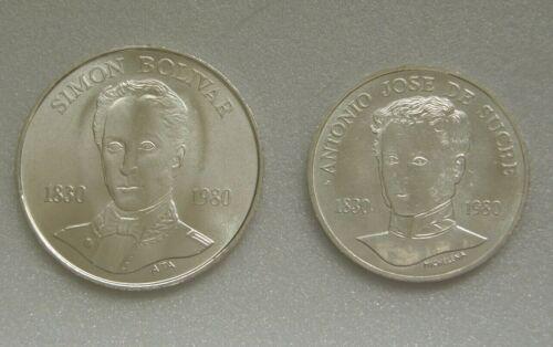 Venezuela Lot 2 Coins 100 (Bolivar) & 75 (Sucre) Bolivares Bs 1980 Silver .900