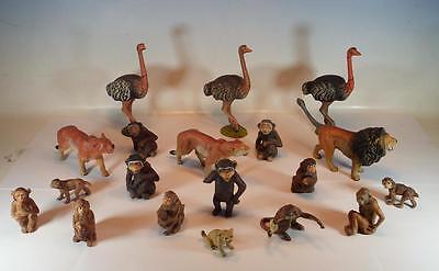 Elastolin / Lineol Masse Figuren Afrika Affen, Strauße und Löwen #094