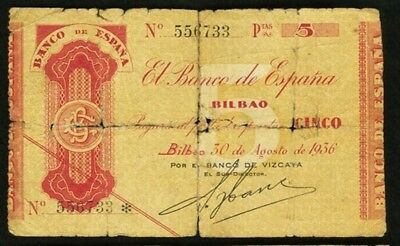 1936 Bilbao 5 Pesetas Spain  Banco De Espana  Sn  556733