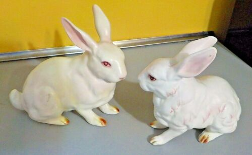Pair Bisque White Rabbits Made in Japan 1950-60