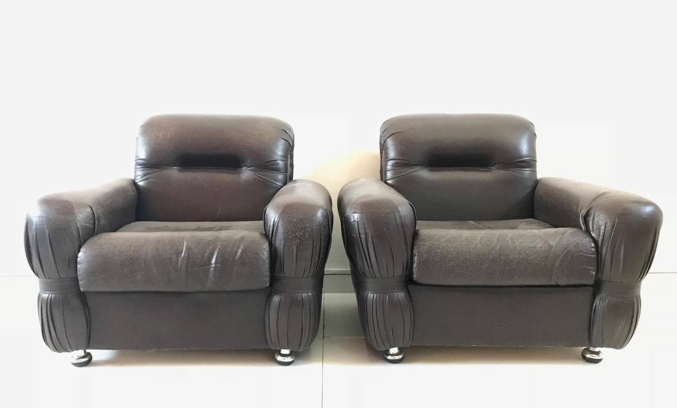 Poltrona poltrone armchair sedie pelle design anni 39 70 for Sedie a poltrona