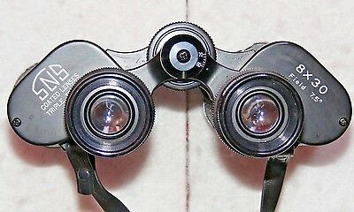 SNS 8x30 Coated Lenses, Triple Tested binoculars in case. Made in Japan