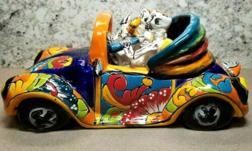 Day of the Dead Día de Los Muertos Gerardo Garcia Folk Art VW Beetle Car Signed