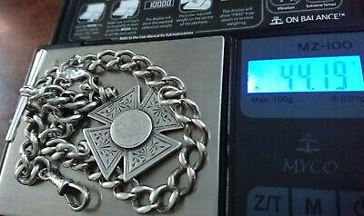 "Antique Solid Silver H/Marked Albert Pocket Watch Chain+Fob Heavy 44Gram 11""& 2"""