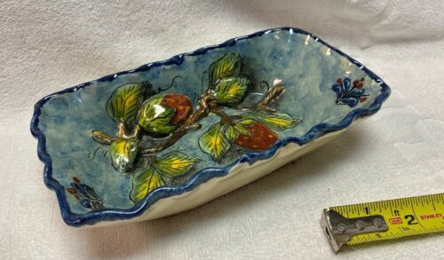 """3D Hand-painted Pottery Rectangular Mexican Dish Strawberry 8"""" X 5"""""""