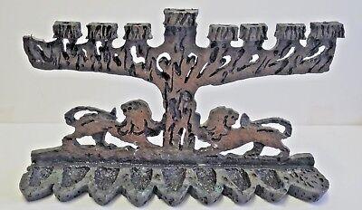Very Rare Vintage Metal Dual Oil & Candle Menorah Lions Of Juda Judaica