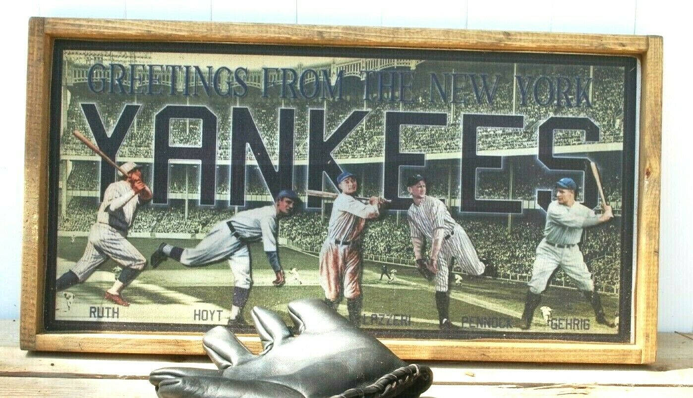 Awesome vintage style ny yankees  baseball post card wooden sign ruth gehrig