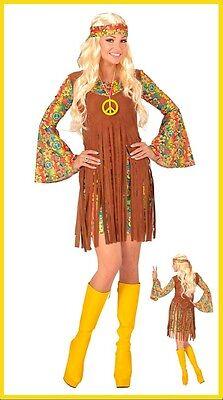 Hippie Girl Kostüm Perücke Damen Kleid Flower Karneval Fasching 80er 70er (60er Hippie Girl Kostüm)