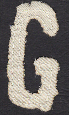 "LETTER /""G/"" 2 1//2/"" NATURAL COLOR DISTRESSED LOOK TWILL IRON ON LETTER"