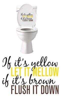 Toilet Novelties (If it's Yellow Let It Mellow Inside Toilet Lid Decal Sticker Novelty Bathroom)
