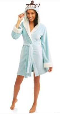 (NEW Body Candy Ladies Huggable Luxe Critter Sleepwear Robe Blue Owl Size XL)