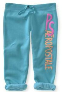 NEW-Teal-PS-Aeropostale-Girls-Kids-Puffy-Cinched-Fleece-Capris-Pants-Sz-4-or-5