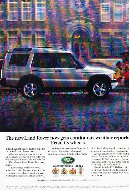 1999 2000 Land Rover Discovery - from its wheels  Vintage Advertisement Ad A24-B