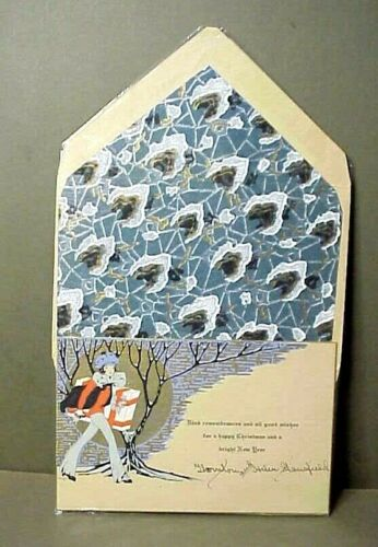 1929 Christmas Card with Decorated Envelope #2