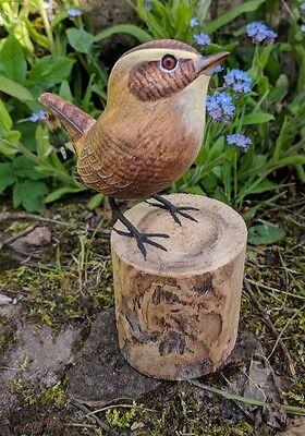 Wooden hand painted Wren garden bird hand carved British garden bird