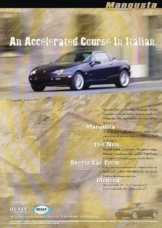 2000 deTomaso Qvale Mangusta - black - Classic Vintage Advertisement Ad D09