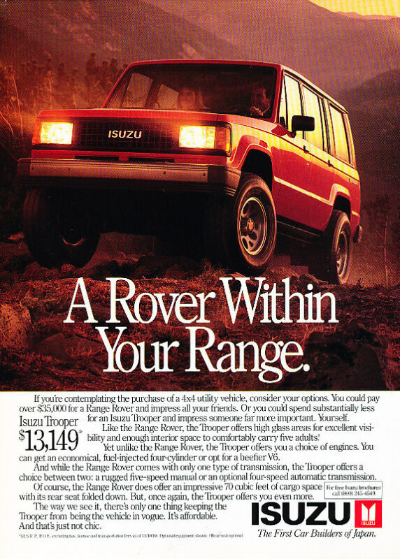 1988 Isuzu Trooper- your range - Classic Vintage Advertisement Ad A97