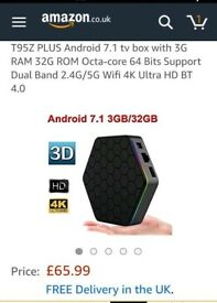 A brand new t95z plus android tv box for sale
