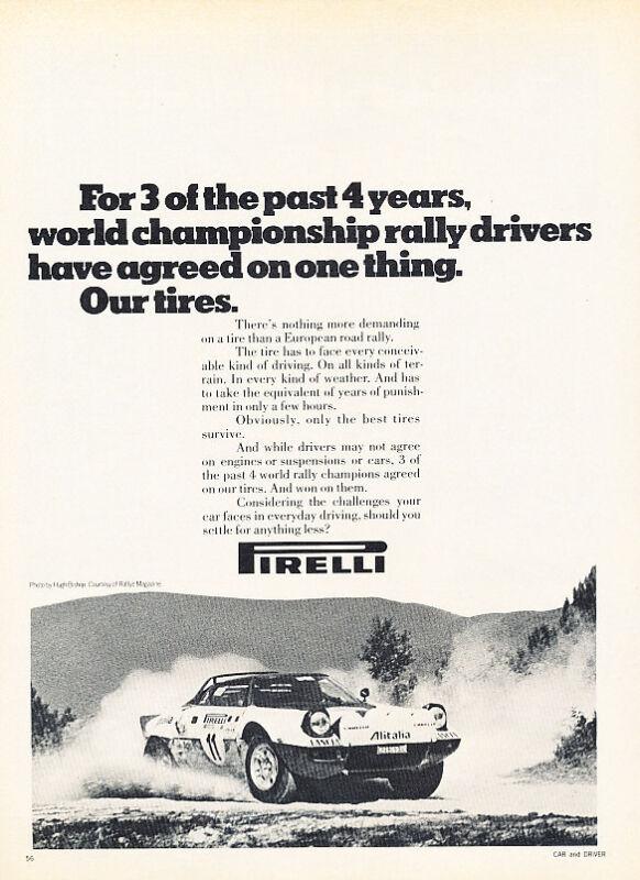 1976 Lancia Stratos - Pirelli - Classic Vintage Advertisement Ad D82
