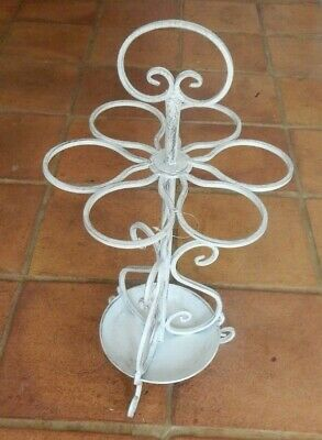 Metal umbrella walking stick stand Antique white Vintage Rustic style 6 ring