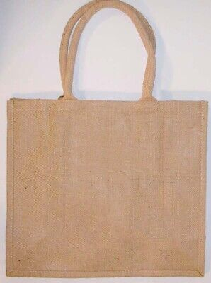 Natural Burlap Jute Tote Bag w/Cotton handles 16x6x14