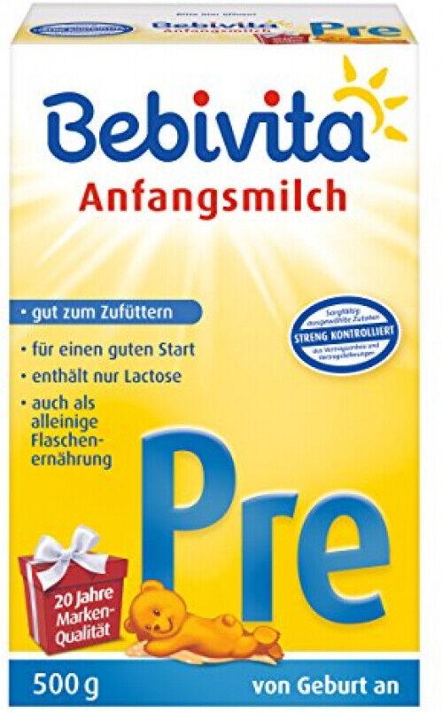 Bebivita PRE Anfangsmilch Lactose Zufüttern Säuglingnahrung 4er Pack (4 x 500 g)