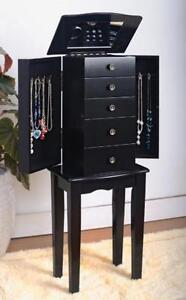 Black Jewelry Armoire Chest New