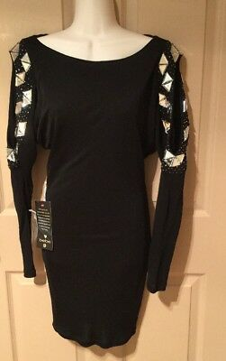 NEW! BEBE FASHIONS DIAMOND SLEEVE EMBELLISHED HOLIDAY DRESS SHORT SIZE SMALL
