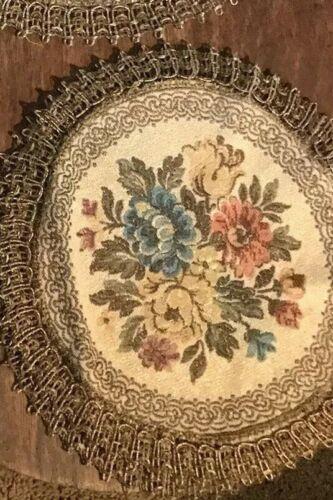 Antique velvet brocade Doily with metal thread trim Italian Tapestry 1