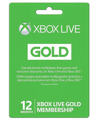 3 x Microsoft Xbox Subsist 12 Month Gold Membership for XBOX ONE 360 VIDEO GAMES