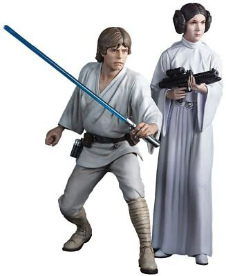 STAR WARS LUKE SKYWALKER & LEIA KOTOBUKIYA ARTFX+ MODEL FIGURE SLIGHT DAMAGE