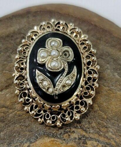 14k Gold Step Filigree Oval Flower Pearl Black Enamel Pendant Brooch Pin READ