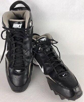 Nike Land Shark Football Cleats Mens Sz 12 Black White Silver Shoes