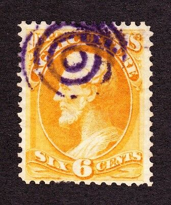 US O4 6c Agriculture Department Used w/ 4 Ring Purple Target Fancy Cancel